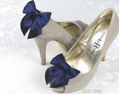 Navy Shoe Clips, Navy Blue Bow Shoes Clip, Dark Blue Wedding Shoe Clip, Nautical Wedding