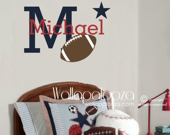 Football Wall Decal - Football Wall Art - Sports Wall Decor - Custom name wall decal - Boy's Room wall decal - Sports wall stickers - Ball