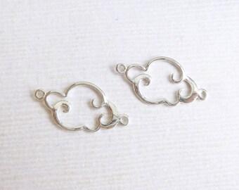 Sterling Silver Cloud Connectors -- 2 Pieces -- Smaller Version  Link HBFO6HS