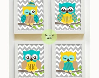 Turquise and Gray Chevron Owl Nursery Prints, Baby Room Decor - Owl Decor - Nursery art  Set of 4 owls - Owl Decor for Baby Boy Room
