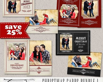 ON SALE! Christmas Card Template,Holiday card  psd Photoshop Template, BUNDLE, sku 10-11