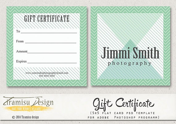 Photography gift certificate photoshop 5x5 card template for Gift certificate template photoshop