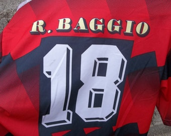 Vintage Soccer Jersey R. Baggio XL made in Italy 80s 90s Rare Fan Collectors Shirt