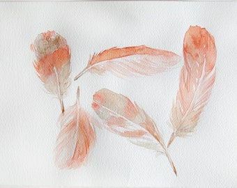 Coral feathers watercolor painting original feather for Flamingo feather paint