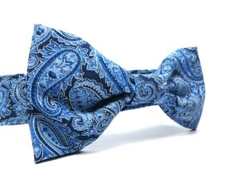 Blue Paisley Bowtie for Dogs, Dog Bow Ties