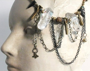 Crystal Skull Beads, Found Objects Necklace, Piano Tuning Pegs, Brass Chains, Skull Beads