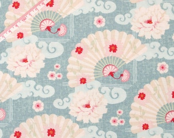 "Tilda Chinese Fan Cadet Blue Fabric / ""Christmas Play"" Quilt Collection - Fat Quarter / 50 cm x 55 cm"
