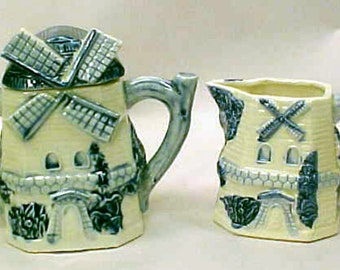 Vintage Delft Cream and Sugar Set Cottage Chic Blue and White Delft