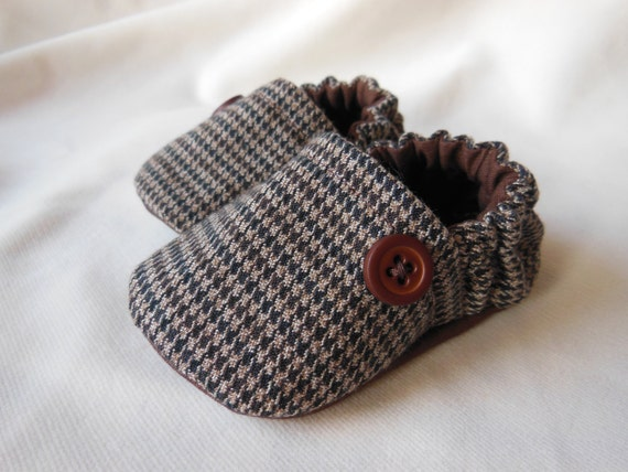 Brown Houndstooth Baby Shoes 0-24 Months