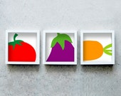 Three vegetable art prints square, red, purple, yellow, set of three kitchen posters, three prints together