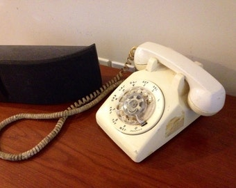 Vintage White Rotary Telephone by Western Electric