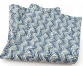 "1 Blue Basketweave Cotton 10"" x 10"" Inch Pocket Square / Handkerchief"