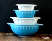 Pyrex 'Snowflake Blue' #441, #442, #443 and #444 cinderella bowl set (c. 1972-79)