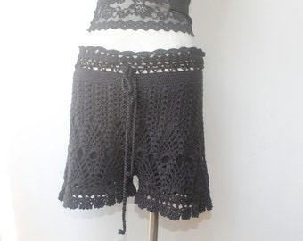 Black Crochet Shorts, Black Shorts, Crochet Short, Vintage