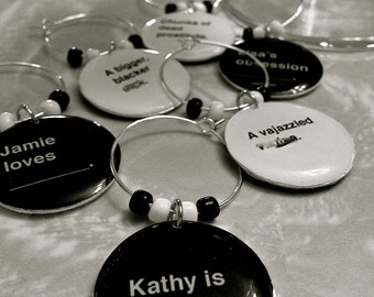 Double Sided! Cards Against Humanity Custom Wine Charms - With Your Horrible Friend's Names (Sets of 6)