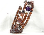 Amber and Purple, Purple Accent, Square Beads, Small Flowers, Seed Beads, Iridescent Sheen, Wire Wrap, Stocking Stuffer