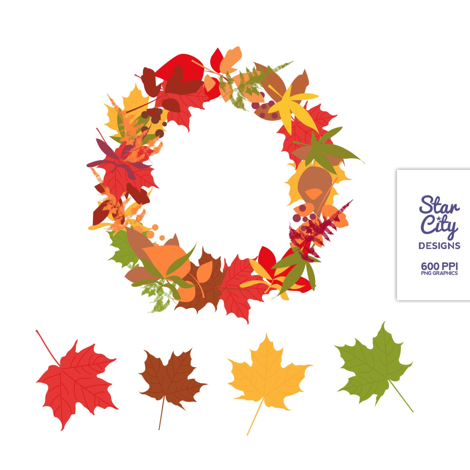 Wreath Clipart Fall clipart clip art vector art by StarCityDesigns
