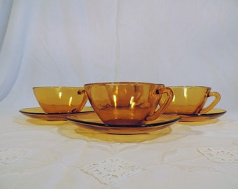 Vereco large square, amber glass, coffee cups, cafe au lait cups, tea cups, set of 6