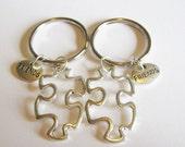 2 Puzzle Piece Heart Best Friends Keychains BFF