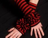 Black friday sale FINGERLESS gloves, black & red STRIPES upcycled merino wool, flower adorned, burlesque
