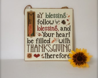 Completed Primitive cross stitch Thanksgiving Blessing Flat Door hanger/ Gift/ Thanksgiving decoration