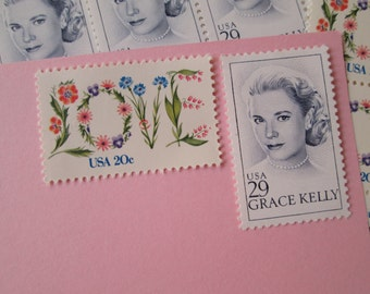 A Graceful Wedding... Unused Vintage Postage Stamps ... Enough to Mail 5 letters