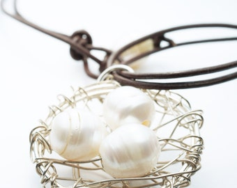 Sterling Silver Nest & Pearl Leather Necklace . Bird's Nest Necklace