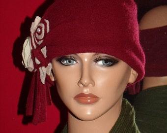 Headband Gypsy Burgundy  Cashmere Boho Flapper Wrap