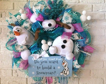 Olaf, Frozen, Christmas Wreath, Do You Want To Build a Snowman