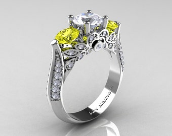 Classic 14K White Gold Three Stone White and Yellow Sapphire Diamond Solitaire Ring R200-14KWGDYSWS