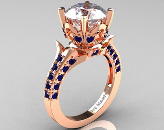 Exclusive 14K Rose Gold 3.0 Carat White and Blue Sapphire Solitaire Blazer Ring R401-14KRGBSWS