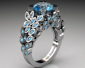 Art Masters Renoir 14K White Gold 3.0 Ct Blue Topaz Diamond Nature Inspired Engagement Ring Wedding Ring R299-14KWGDBT