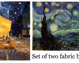 Set of TWO Van Gogh Fabric Blocks - Starry, Starry Night and Cafe Terrace - Great for Quilting, Pillows & Wall Art - Buy 2, Get 1 FREE