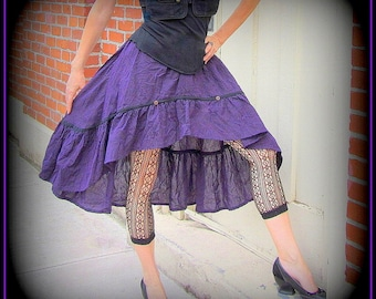 Steampunk Skirt ~ Purple Pirate Pinstripe ~ Victorian Bustle ~ fun layering piece for tribal belly dancers and wild wenches ~ fits S to XL