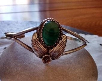 small sterling silver malachite bracelet cuff vintage Native American Westworld wedding Machalite retro July 4 birthday jewelry gift