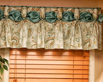 """Custom DANIELLE  Hidden Rod Pocket® Valance fits 30""""- 44"""" window, Pleated Valance, Made with your fabrics, my LABOR and lining"""