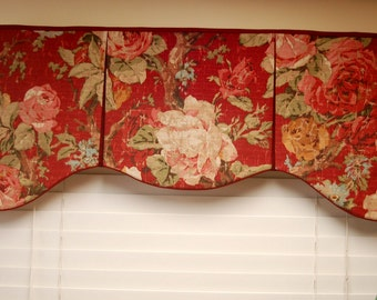 "Custom Made Valance ASHLEY  Hidden Rod Pocket Valance fits 32""- 44"" window, You provide the fabrics, I provide the LABOR and lining"