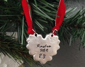 Family Christmas Ornament | Baby's First Christmas Ornament | Personalized Ornament | Engraved Ornament | Pewter Ornament | Hand Stamped
