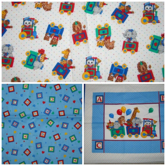 Nursery baby children animal train fabric by nwfabricboutique for Kids train fabric