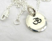 Silver Om Pendant Necklace , Personalized Fine Silver Pendant, .999FS,  Pure Silver Om Charm Necklace