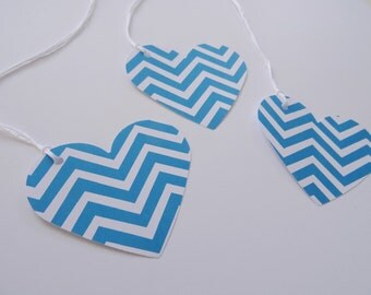 Baby Shower Decorations, Baby Boy Shower Gift Tags, Teal and White Chevron Paper Heart Gift Tags, Birthday Party Gift Tags, Set of 10