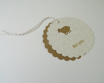 Little Lamb Gift Tags, Sheep Gift Tags, Kraft Brown and Beige Gift Tags, Shower Favor Tags, For You Stamped Gift Tags, Card Stock, Set of 4