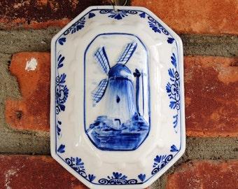 Vintage Delft Plaque - Windmill, 3 D, Hand Painted- Fabulous!