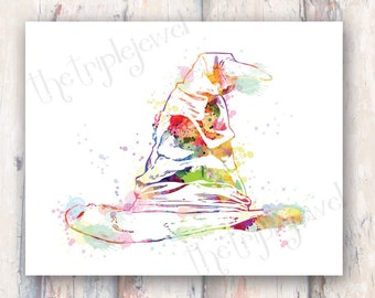 Harry Potter Sorting Hat Print, Watercolor, Splatter, Poster, Gift, 8x10, Wall Art, Decoration, Dorm Decor, Geek, Digital Art