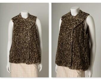 """ORIGINAL VINTAGE 1960s 1970s Faux Fur Leopard Ocelot Print Trapeze Gilet Waistcoat / S M / Bust 38"""""""