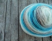 Pencil roving - soft wool- sky blue, grey and white - one skein 88gr - 3.1oz.