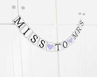 FREE SHIPPING, Miss To Mrs banner, Bridal shower decorations, Bachelorette party decor, Wedding banner, Engagement party decoration, Purple