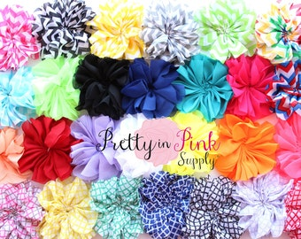 Large Double Ruffle Flowers...You Choose Quantity...Chiffon Flower...Chiffon Ruffle Flowers...DIY Headbands...Wholesale...Flower...Heabands