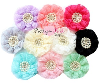 "GRAB BAG- Vintage Lace Pearl and Rhinestone Flowers- You Choose Quantity- Large 3.5"" Chiffon Flowers"