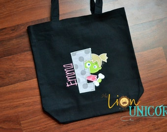 Zombie Girl Trick or Treat Tote applique Halloween Bag Candy Bag Fall Festival Bag
